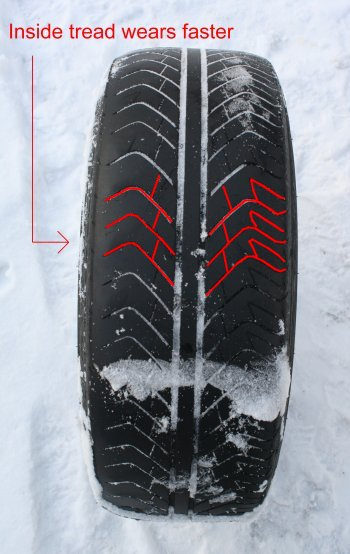 Clearly, the inside tread of the Michelin Sport tire mounted on a G35 Coupe wears faster than the outside of the tread